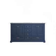 "Lexora Dukes 60"" Navy Blue Double Vanity, White Carrara Marble Top, White Square Sinks and no Mirror"