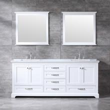 "Lexora Dukes 80"" White Double Vanity, White Carrara Marble Top, White Square Sinks and 30"" Mirrors w/ Faucets"