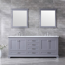 """Lexora Dukes 80"""" Dark Grey Double Vanity, White Carrara Marble Top, White Square Sinks and 30"""" Mirrors w/ Faucets"""