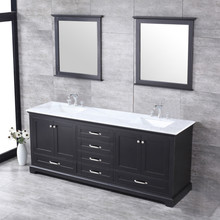 """Lexora Dukes 80"""" Espresso Double Vanity, White Carrara Marble Top, White Square Sinks and 30"""" Mirrors w/ Faucets"""