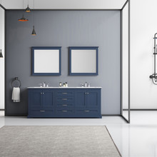 """Lexora Dukes 80"""" Navy Blue Double Vanity, White Carrara Marble Top, White Square Sinks and 30"""" Mirrors w/ Faucets"""