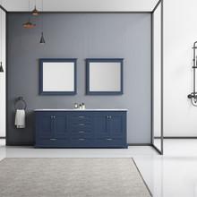 "Lexora Dukes 80"" Navy Blue Double Vanity, White Carrara Marble Top, White Square Sinks and 30"" Mirrors"