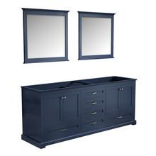 "Lexora Dukes 80"" Navy Blue Double Vanity, no Top and 30"" Mirrors"