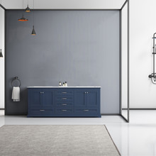 "Lexora Dukes 80"" Navy Blue Double Vanity, White Carrara Marble Top, White Square Sinks and no Mirror"