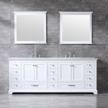 "Lexora Dukes 84"" White Double Vanity, White Carrara Marble Top, White Square Sinks and 34"" Mirrors w/ Faucets"