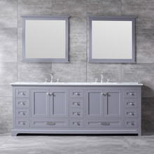 """Lexora Dukes 84"""" Dark Grey Double Vanity, White Carrara Marble Top, White Square Sinks and 34"""" Mirrors w/ Faucets"""