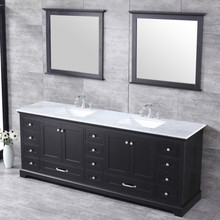 """Lexora Dukes 84"""" Espresso Double Vanity, White Carrara Marble Top, White Square Sinks and 34"""" Mirrors w/ Faucets"""