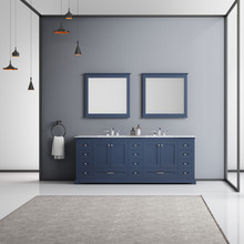 """Lexora Dukes 84"""" Navy Blue Double Vanity, White Carrara Marble Top, White Square Sinks and 34"""" Mirrors w/ Faucets"""