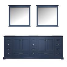 "Lexora Dukes 84"" Navy Blue Double Vanity, White Carrara Marble Top, White Square Sinks and 34"" Mirrors"