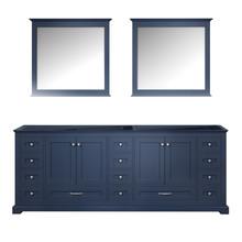 "Lexora Dukes 84"" Navy Blue Double Vanity, no Top and 34"" Mirrors"