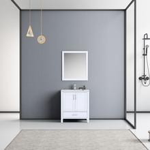 "Lexora Jacques 30"" White Single Vanity, White Carrara Marble Top, White Square Sink and 28"" Mirror w/ Faucet"
