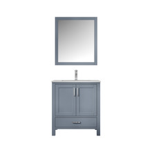 "Lexora Jacques 30"" Dark Grey Single Vanity, White Carrara Marble Top, White Square Sink and 28"" Mirror w/ Faucet"