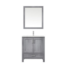 """Lexora Jacques 30"""" Distressed Grey Single Vanity, White Carrara Marble Top, White Square Sink and 28"""" Mirror w/ Faucet"""