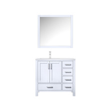 """Lexora Jacques 36"""" White Single Vanity, White Carrara Marble Top, White Square Sink and 34"""" Mirror w/ Faucet - Left Version"""