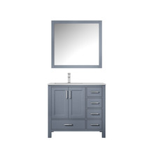 """Lexora Jacques 36"""" Dark Grey Single Vanity, White Carrara Marble Top, White Square Sink and 34"""" Mirror w/ Faucet - Left Version"""