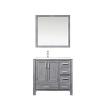 """Lexora Jacques 36"""" Distressed Grey Single Vanity, White Carrara Marble Top, White Square Sink and 34"""" Mirror w/ Faucet - Left Version"""