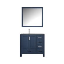 """Lexora Jacques 36"""" Navy Blue Single Vanity, White Carrara Marble Top, White Square Sink and 34"""" Mirror w/ Faucet - Left Version"""