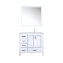 """Lexora Jacques 36"""" White Single Vanity, White Carrara Marble Top, White Square Sink and 34"""" Mirror w/ Faucet - Right Version"""