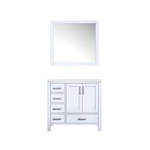 "Lexora Jacques 36"" White Single Vanity, White Carrara Marble Top, White Square Sink and 34"" Mirror - Right Version"