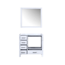 """Lexora Jacques 36"""" White Single Vanity, no Top and 34"""" Mirror - Right Version"""