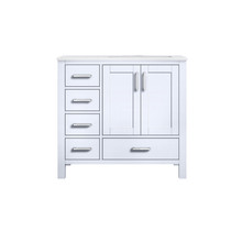 """Lexora Jacques 36"""" White Single Vanity, Carrara Marble Top, White Square Sink and no Mirror - Right Version"""