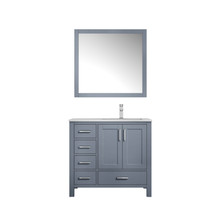 """Lexora Jacques 36"""" Dark Grey Single Vanity, White Carrara Marble Top, White Square Sink and 34"""" Mirror w/ Faucet - Right Version"""