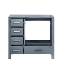"""Lexora Jacques 36"""" Dark Grey Vanity Cabinet Only - Right Version"""