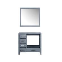 "Lexora Jacques 36"" Dark Grey Single Vanity, no Top and 34"" Mirror - Right Version"