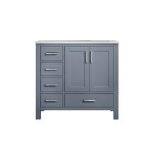 "Lexora Jacques 36"" Dark Grey Single Vanity, White Carrara Marble Top, White Square Sink and no Mirror - Right Version"