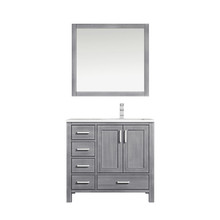 """Lexora Jacques 36"""" Distressed Grey Single Vanity, White Carrara Marble Top, White Square Sink and 34"""" Mirror w/ Faucet - Right Version"""