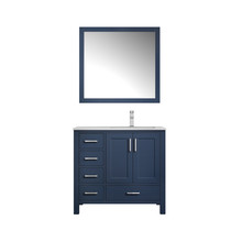 """Lexora Jacques 36"""" Navy Blue Single Vanity, White Carrara Marble Top, White Square Sink and 34"""" Mirror w/ Faucet - Right Version"""