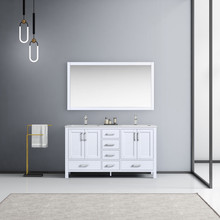 """Lexora Jacques 60"""" White Double Vanity, White Carrara Marble Top, White Square Sinks and 58"""" Mirror w/ Faucets"""