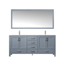 """Lexora Jacques 60"""" Dark Grey Double Vanity, White Carrara Marble Top, White Square Sinks and 58"""" Mirror w/ Faucets"""