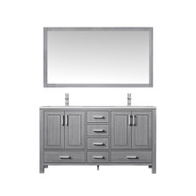 """Lexora Jacques 60"""" Distressed Grey Double Vanity, White Carrara Marble Top, White Square Sinks and 58"""" Mirror w/ Faucets"""