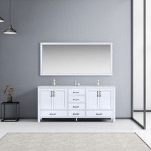 """Lexora Jacques 72"""" White Double Vanity, White Carrara Marble Top, White Square Sinks and 70"""" Mirror w/ Faucets"""