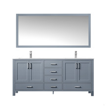 """Lexora Jacques 72"""" Dark Grey Double Vanity, White Carrara Marble Top, White Square Sinks and 70"""" Mirror w/ Faucets"""