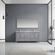 """Lexora Jacques 72"""" Distressed Grey Double Vanity, White Carrara Marble Top, White Square Sinks and 70"""" Mirror w/ Faucets"""
