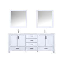 """Lexora Jacques 80"""" White Double Vanity, White Carrara Marble Top, White Square Sinks and 30"""" Mirrors w/ Faucets"""
