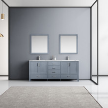 """Lexora Jacques 80"""" Dark Grey Double Vanity, White Carrara Marble Top, White Square Sinks and 30"""" Mirrors w/ Faucets"""