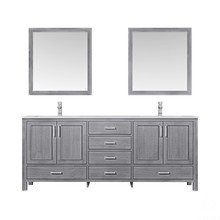 """Lexora Jacques 80"""" Distressed Grey Double Vanity, White Carrara Marble Top, White Square Sinks and 30"""" Mirrors w/ Faucets"""