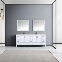 """Lexora Jacques 84"""" White Double Vanity, White Carrara Marble Top, White Square Sinks and 34"""" Mirrors w/ Faucets"""