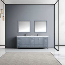 """Lexora Jacques 84"""" Dark Grey Double Vanity, White Carrara Marble Top, White Square Sinks and 34"""" Mirrors w/ Faucets"""