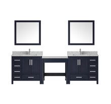 """Lexora Jacques 102"""" Navy Blue Double Vanity w/ Make-up Table, White Carrara Marble Top, White Square Sink and 34"""" Mirror"""