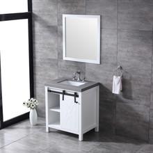 """Lexora Marsyas 30"""" White Single Vanity, Grey Quartz Top, White Square Sink and 28"""" Mirror w/ Faucet"""