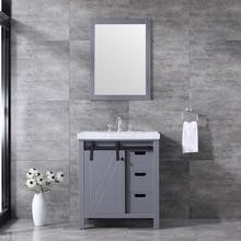 "Lexora Marsyas 30"" Dark Grey Single Vanity, White Carrara Marble Top, White Square Sink and 28"" Mirror w/ Faucet"