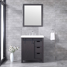 "Lexora Marsyas 30"" Brown Single Vanity, White Quartz Top, White Square Sink and 28"" Mirror w/ Faucet"