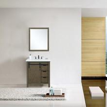 "Lexora Marsyas 30"" Rustic Brown Single Vanity, White Quartz Top, White Square Sink and 28"" Mirror w/ Faucet"