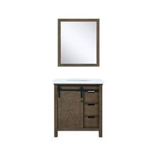 "Lexora Marsyas 30"" Rustic Brown Single Vanity, White Quartz Top, White Square Sink and 28"" Mirror"