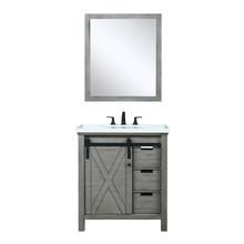 "Lexora Marsyas 30"" Ash Grey Single Vanity, White Quartz Top, White Square Sink and 28"" Mirror w/ Faucet"