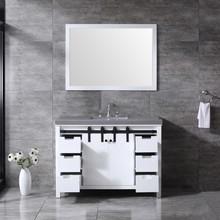 """Lexora Marsyas 48"""" White Single Vanity, Grey Quartz Top, White Square Sink and 44"""" Mirror w/ Faucet"""